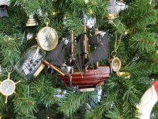 Wooden Queen Annes Revenge Model Ship Christmas Tree Ornament