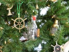 Mayflower Ship in a Glass Bottle Christmas Tree Ornament
