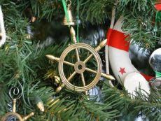 Solid Brass Ship Wheel Christmas Tree Ornament
