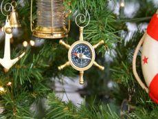 Brass Ships Wheel Compass Christmas Tree Ornament