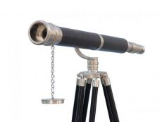 Floor Standing Brushed Nickel With Leather Galileo Telescope 65