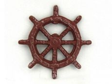 Red Whitewashed Cast Iron Ship Wheel Bottle Opener 3.75