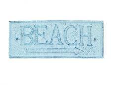 Rustic Dark Blue Whitewashed Cast Iron Beach Sign 9