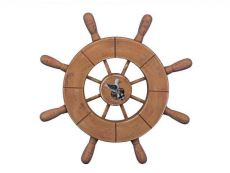 Rustic Wood Finish Decorative Ship Wheel With Seagull 9