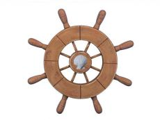 Rustic Wood Finish Decorative Ship Wheel With Seashell 9