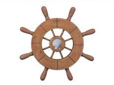 Rustic Wood Finish Decorative Ship Wheel With Seashell 9