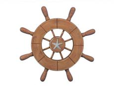 Rustic Wood Finish Decorative Ship Wheel With Starfish 9