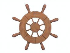 Rustic Wood Finish Decorative Ship Wheel 9