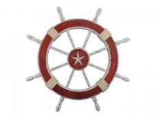 Wooden Rustic Red and White Decorative Ship Wheel With Starfish 30