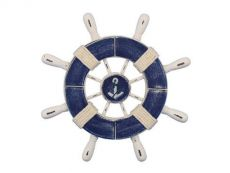 Rustic Dark Blue and White Decorative Ship Wheel With Anchor 9