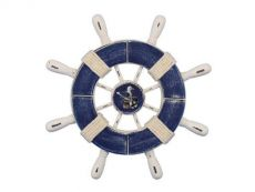 Rustic Dark Blue and White Decorative Ship Wheel With Seagull 9