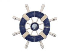 Rustic Dark Blue and White Decorative Ship Wheel With Seashell 9