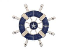 Rustic Dark Blue and White Decorative Ship Wheel With Starfish 9