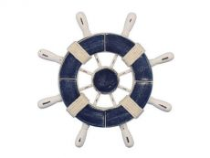 Rustic Dark Blue and White Decorative Ship Wheel 9