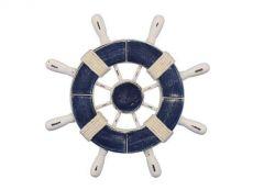 Rustic Dark Blue and White Decorative Ship Wheel 9