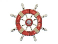 Rustic Red and White Decorative Ship Wheel With Seashell  6