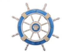 Rustic Light Blue and White Decorative Ship Wheel With Seashell 24