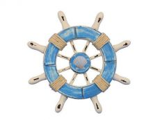 Rustic Light Blue and White Decorative Ship Wheel With Seashell  6