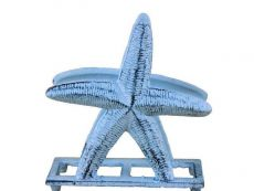 Rustic Dark Blue Whitewashed Cast Iron Starfish Napkin Holder 6\