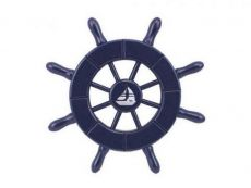Dark Blue Decorative Ship Wheel With Sailboat 6