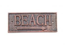 Rustic Copper Cast Iron Beach Sign 9