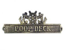 Antique Gold Cast Iron Poop Deck Sign with Ship Wheel and Anchors 9