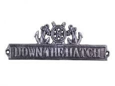 Antique Silver Cast Iron Down the Hatch Sign with Ship Wheel and Anchors 9