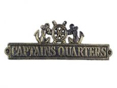 Antique Gold Cast Iron Captains Quarters Sign with Ship Wheel and Anchors 9