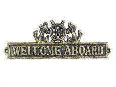 Antique Gold Cast Iron Welcome Aboard Sign with Ship Wheel and Anchors 9