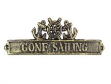 Antique Gold Cast Iron Gone Sailing Sign with Ship Wheel and Anchors 9