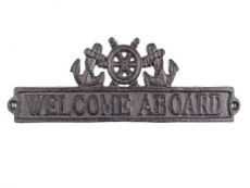 Cast Iron Welcome Aboard Sign with Ship Wheel and Anchors 9
