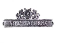 Antique Silver Cast Iron Ship Happens Sign with Ship Wheel and Anchors 9