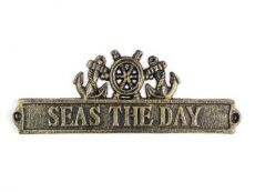 Antique Gold Cast Iron Seas the Day Sign with Ship Wheel and Anchors 9