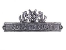 Antique Silver Cast Iron Seas the Day Sign with Ship Wheel and Anchors 9