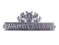 Antique Silver Cast Iron Anchors Aweigh Sign with Ship Wheel and Anchors 9