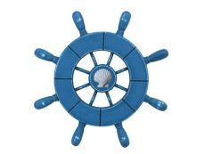 Rustic All Light Blue Decorative Ship Wheel With Seashell 9