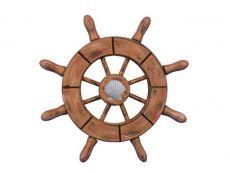 Rustic Wood Finish Decorative Ship Wheel With Seashell  6
