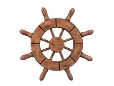 Rustic Wood Finish Decorative Ship Wheel 6