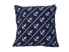 Decorative Blue Pillow with White Rope and Anchors Throw Pillow 16\