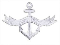 Whitewashed Cast Iron Poop Deck Anchor Sign 8