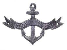 Antique Silver Cast Iron Ship Happens Anchor Sign 8