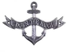 Antique Silver Cast Iron Down the Hatch Sign 8