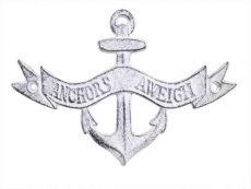 Whitewashed Cast Iron Anchors Aweigh Anchor Sign 8