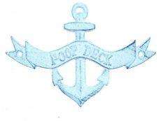Dark Blue Whitewashed Cast Iron Poop Deck Anchor Sign 8