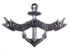 Antique Silver Cast Iron Anchor Captains Quarters Sign 8