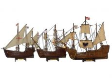 Wooden Santa Maria, Nina and Pinta Model Ship Set