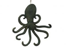 Antique Seaworn Bronze Cast Iron Wall Mounted Octopus Hooks 7