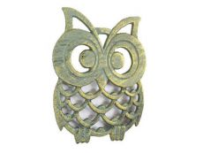 Antique Seaworn Bronze Cast Iron Owl Trivet 8