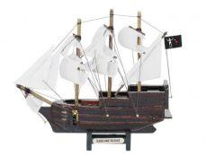 Wooden Blackbeards Queen Annes Revenge White Sails Model Pirate Ship 7
