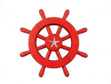Red Decorative Ship Wheel With Starfish 12